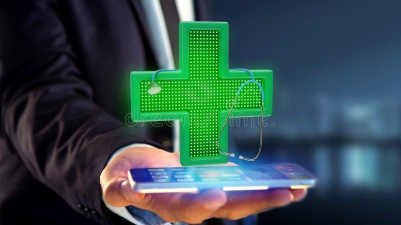 使用一个智能手机的商人有照明设备药房的十字架的 免版税库存图片