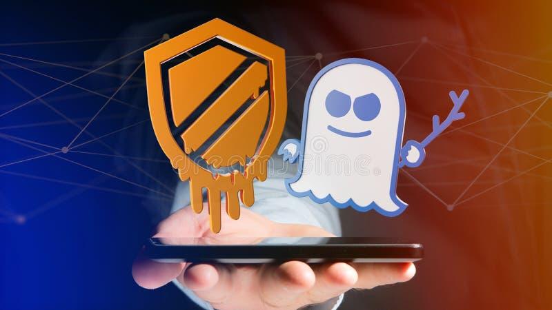 使用一个智能手机的商人有熔毁和幽灵proce的 图库摄影