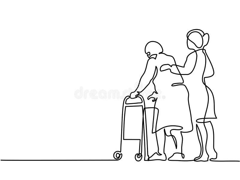 使用一个走的框架的少妇帮助老妇人 向量例证