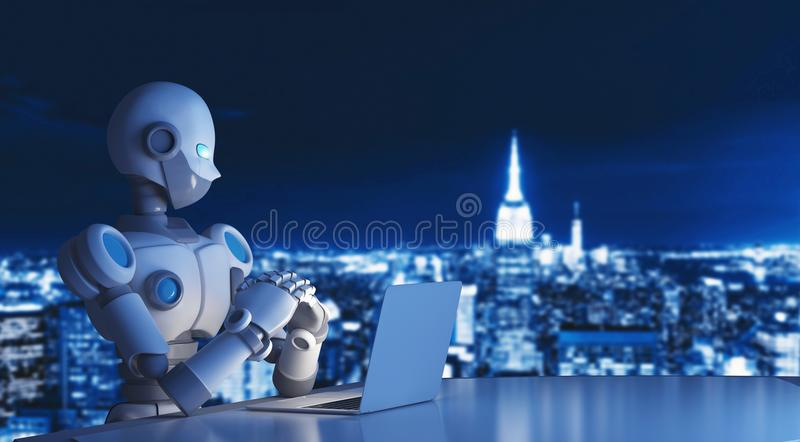 使用一台便携式计算机的机器人在城市,人工智能 库存例证