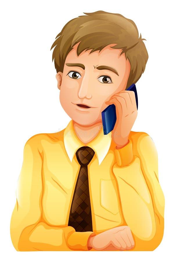 使用一台手机的一个商人 向量例证