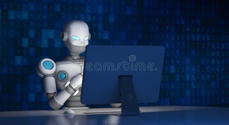使用一台计算机的机器人有数据代码的,人工智能 库存例证