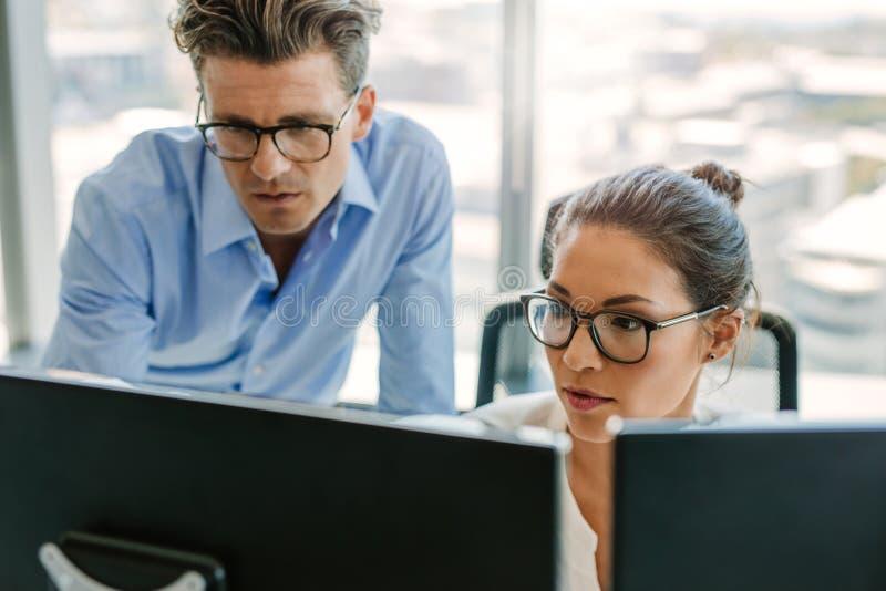 使用一台计算机的被聚焦的企业队在办公室 免版税图库摄影
