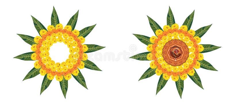 使用万寿菊或zendu花和红色玫瑰花瓣被做的花rangoli的储蓄例证屠妖节的或pongal或者onam在wh 向量例证