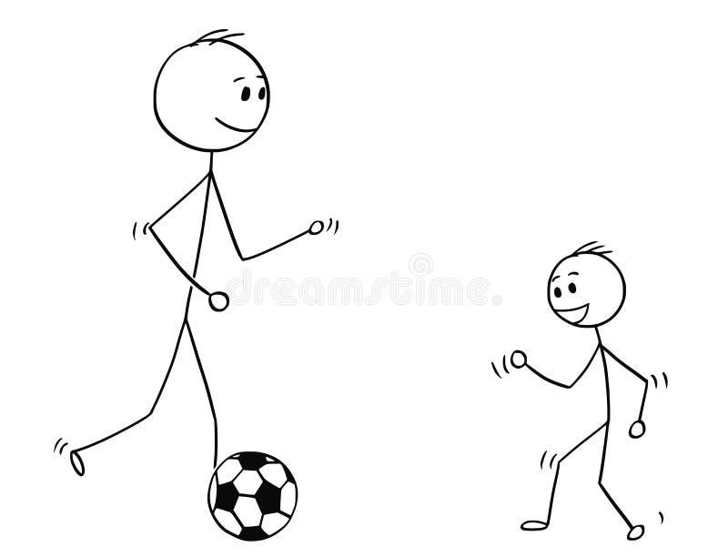 使用与与儿子的足球或橄榄球球的父亲动画片 库存例证