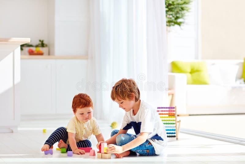 使用与五颜六色的木砖的小男婴的哥哥,在家 免版税库存图片