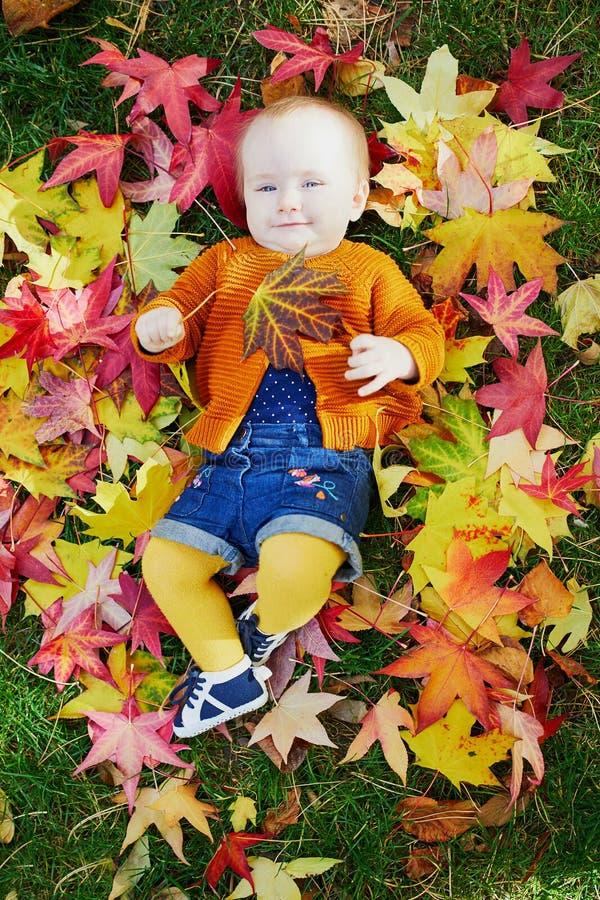 使用与五颜六色的秋叶的女婴户外 库存照片