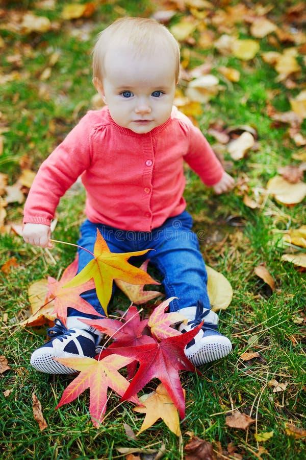 使用与五颜六色的秋叶的女婴户外 免版税库存图片