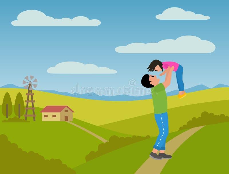 使用与他的儿童女儿的父亲在村庄 转动她在握手 天空蔚蓝,绿草和小 向量例证