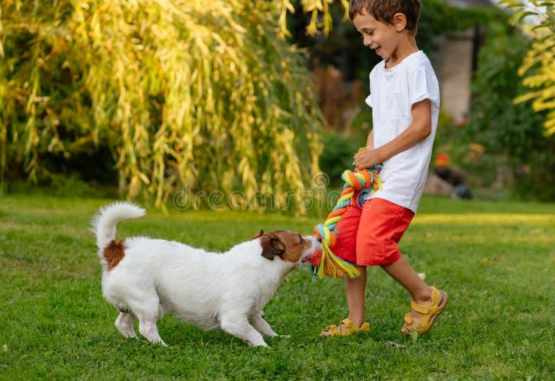 使用与他的狗的愉快的笑的孩子男孩拉扯小狗棉花绳索玩具 免版税图库摄影