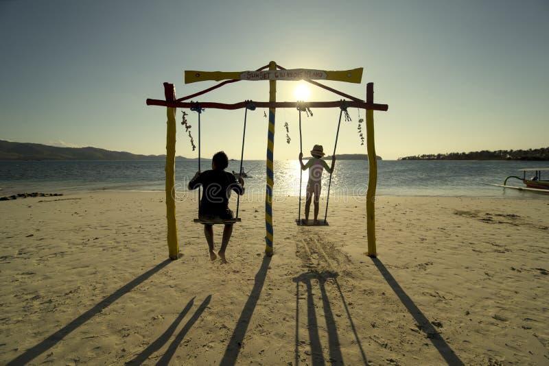 使用与在海滩的摇摆的两个孩子 库存图片