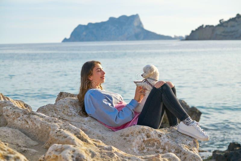 使用与在海滩的maltichon狗的女孩 免版税库存图片