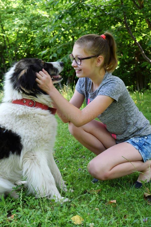 使用与在草的狗的女孩 拥抱喀尔巴阡山脉的牧羊犬的少年在夏天公园 人和动物的友谊概念 库存图片