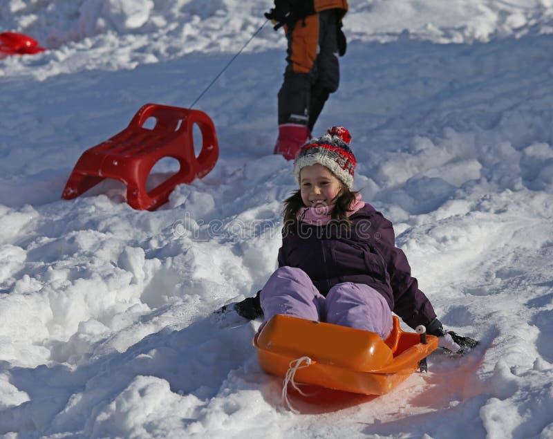 使用与在雪的突然移动的寒假 库存图片