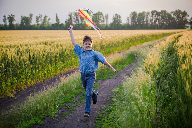 使用与在麦田的五颜六色的风筝的男孩 库存照片