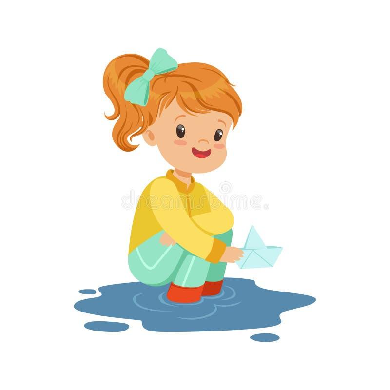 使用与在水水坑动画片传染媒介例证的纸小船的甜小女孩 向量例证