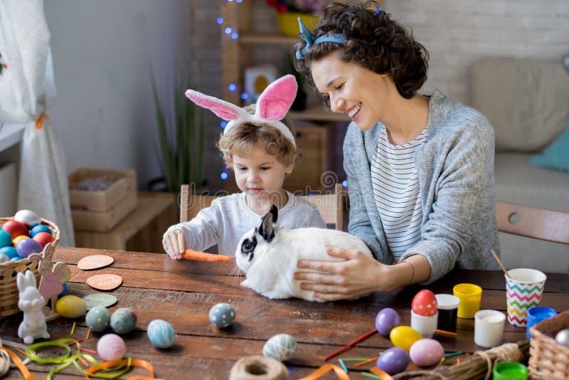 使用与复活节兔子的家庭 免版税库存照片