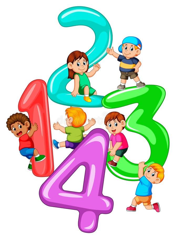 使用与大第一到四的孩子 库存例证