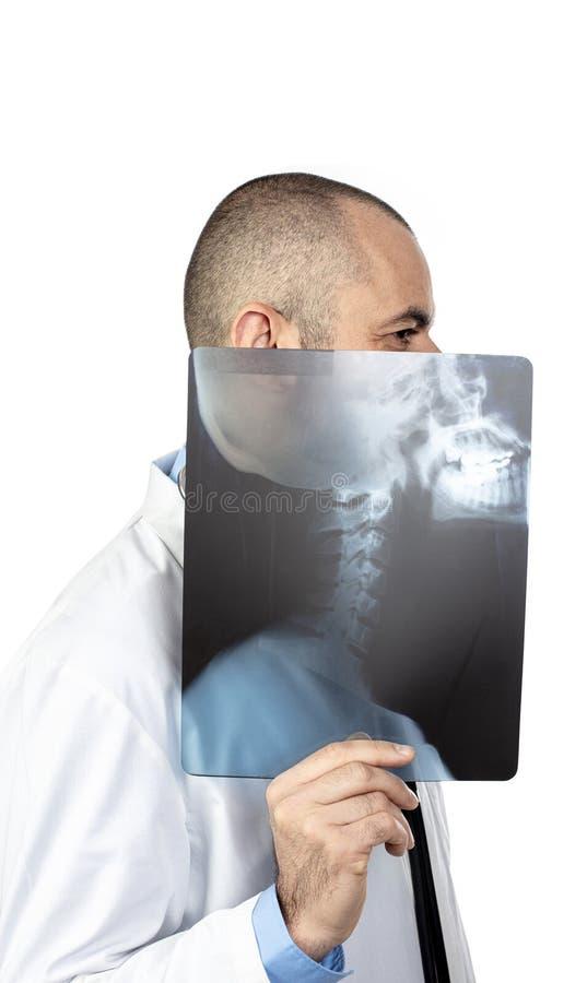 使用与头骨X-射线的一位年轻医生的滑稽的画象 免版税库存照片