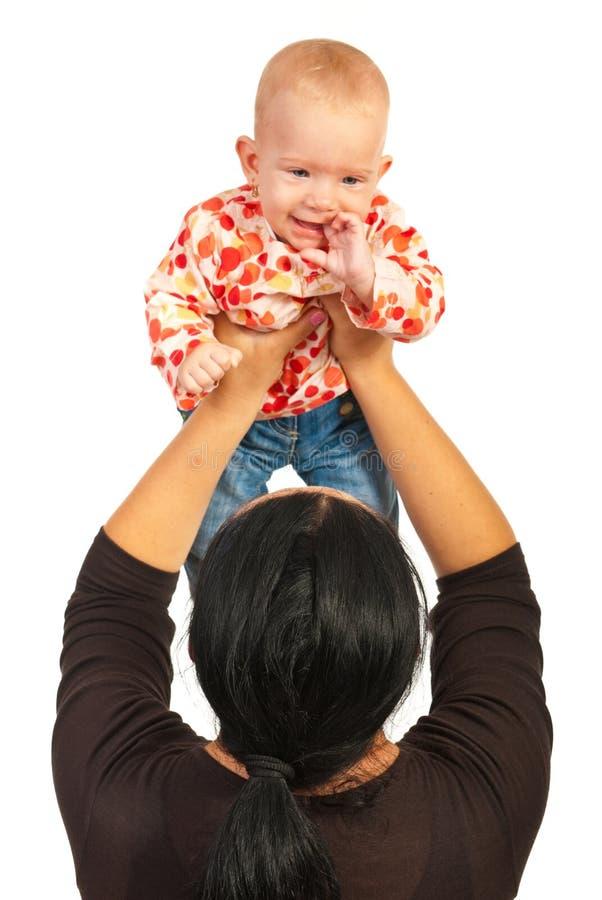使用与女婴的母亲 库存照片