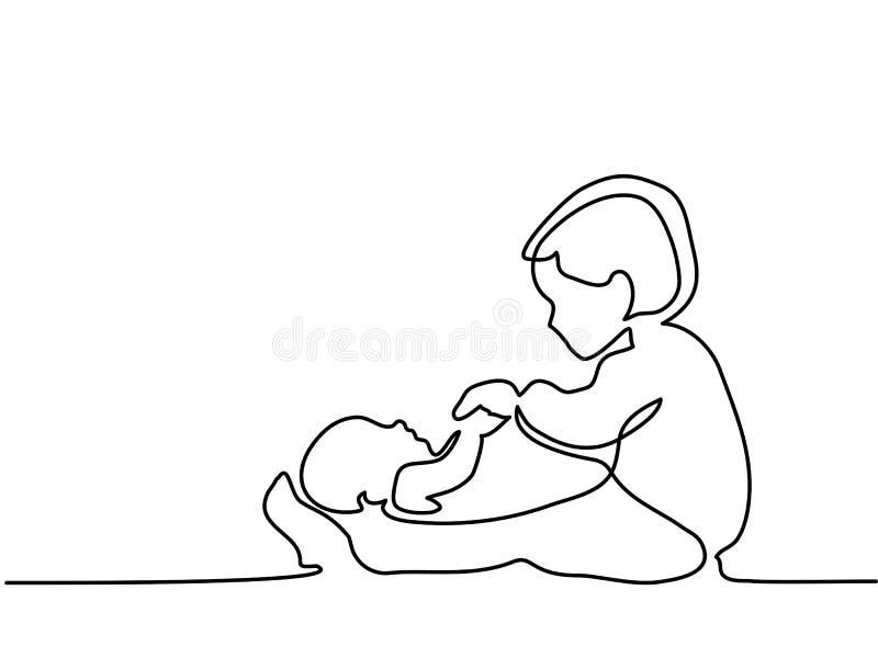 使用与她新出生的兄弟的小孩女孩 向量例证