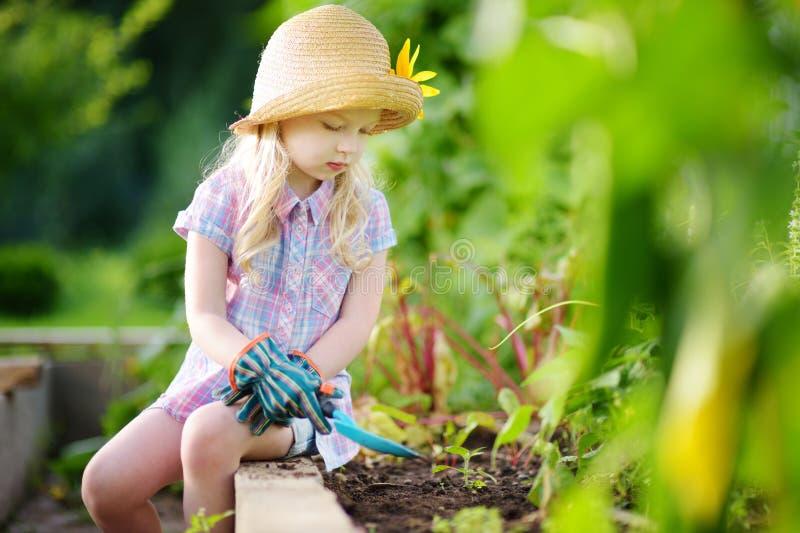使用与她的玩具园艺工具的可爱的小女孩佩带的草帽自温室 库存照片