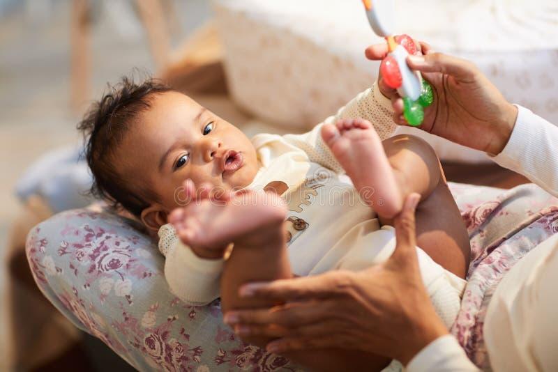 使用与婴孩 免版税库存照片