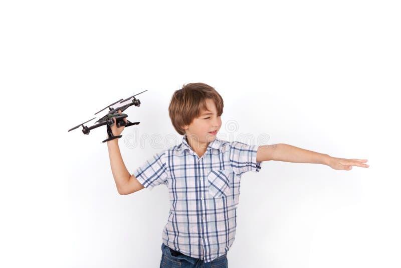 使用与寄生虫的滑稽的男小学生 库存图片