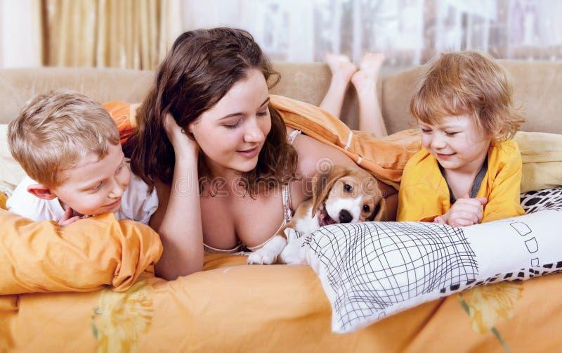 Download 使用与小狗的孩子在床上 库存图片. 图片 包括有 敌意, 有吸引力的, 国内, bedaub, 少许, 女孩 - 30327325
