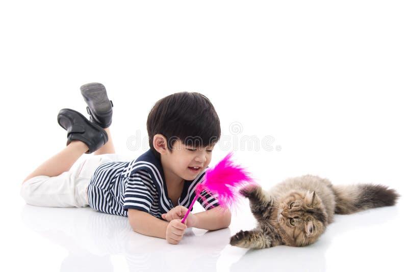 使用与平纹小猫的逗人喜爱的亚裔男孩 图库摄影