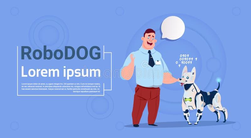 使用与机器人狗逗人喜爱的家畜现代机器人宠物人工智能技术的人 库存例证