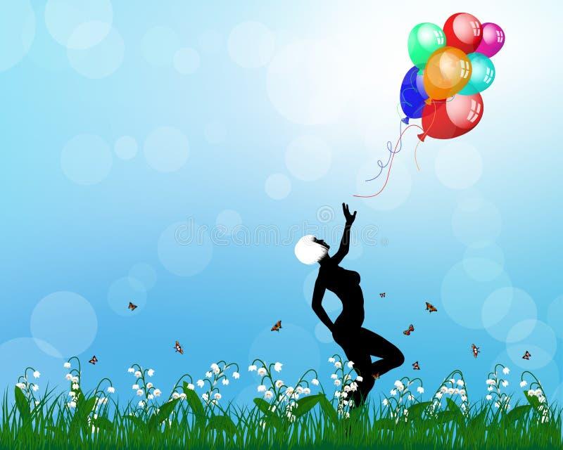 使用与气球的夫人 免版税库存照片