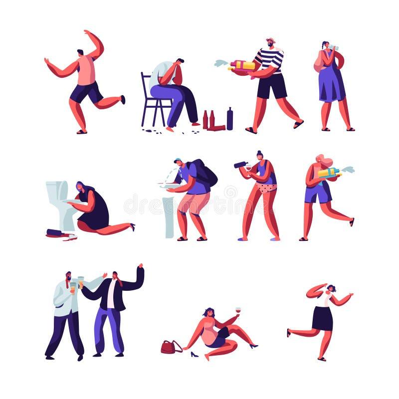 使用与水枪集合的饮者和人们 与酒瘾、醉酒的说谎在地面的男人和妇女的字符,呕吐 向量例证