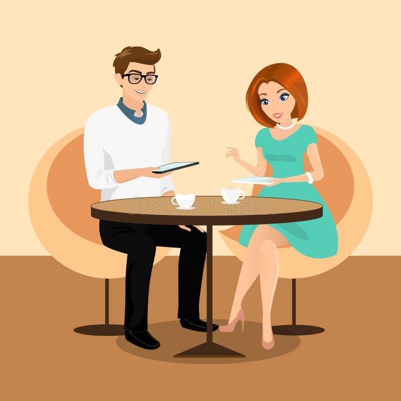 年轻使用与片剂个人计算机的人和妇女在餐馆。 库存例证