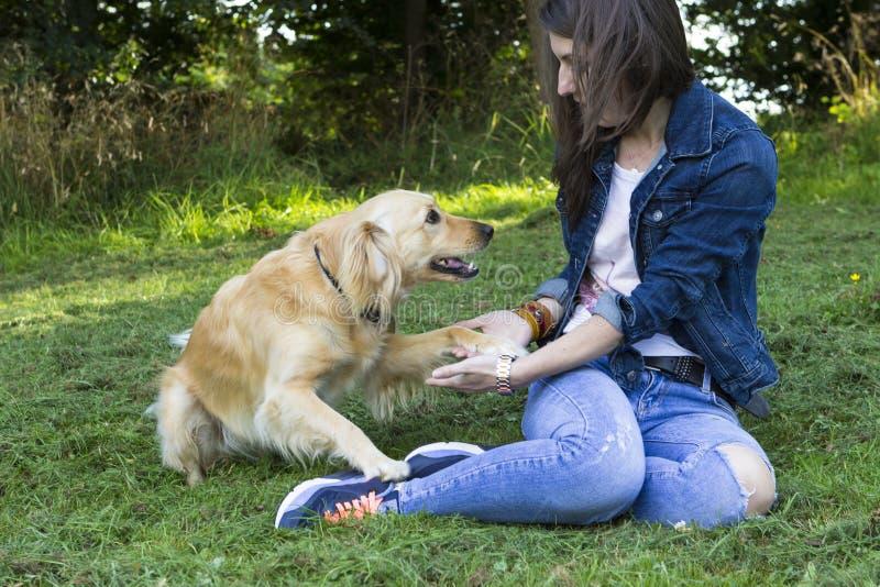 使用与狗的女孩在夏日 免版税图库摄影