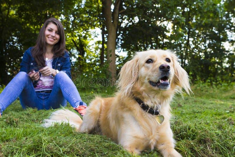 使用与狗的女孩在夏日 免版税库存图片