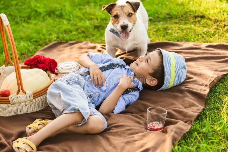 使用与狗的男孩在家庭野餐在绿草草坪 库存图片