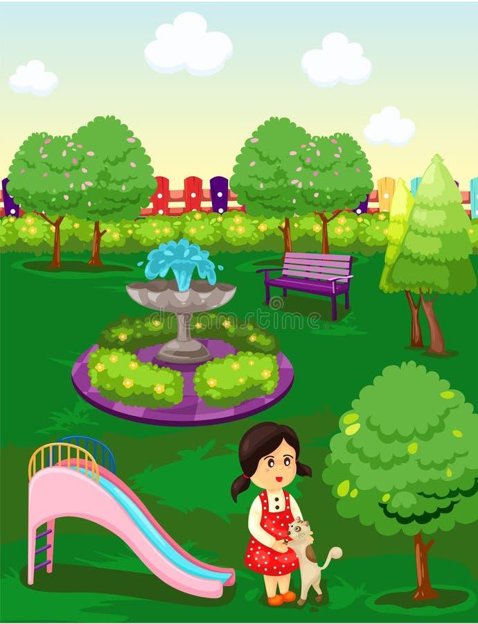 使用与猫的逗人喜爱的小女孩在公园 向量例证