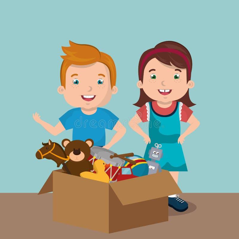 使用与玩具字符的小男孩和女孩 皇族释放例证
