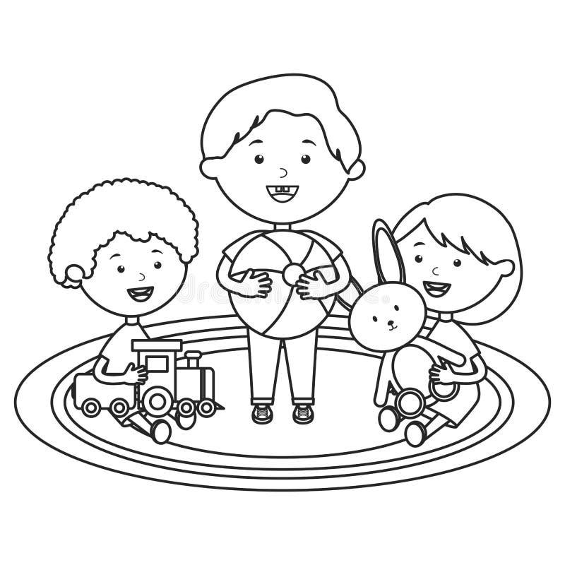 使用与玩具字符的逗人喜爱的小孩小组 皇族释放例证