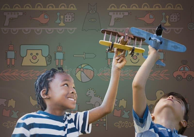 使用与玩具的孩子与空白的背景和玩具图表一起飞行 皇族释放例证