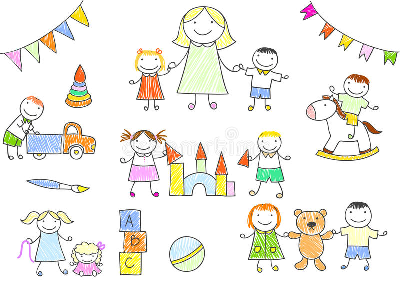 使用与玩具的幼儿园老师和孩子 向量例证