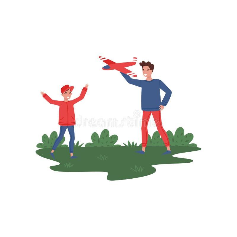 使用与玩具的父亲和儿子在公园飞行 午餐室外重新创建 父权题材 平的传染媒介设计 库存例证