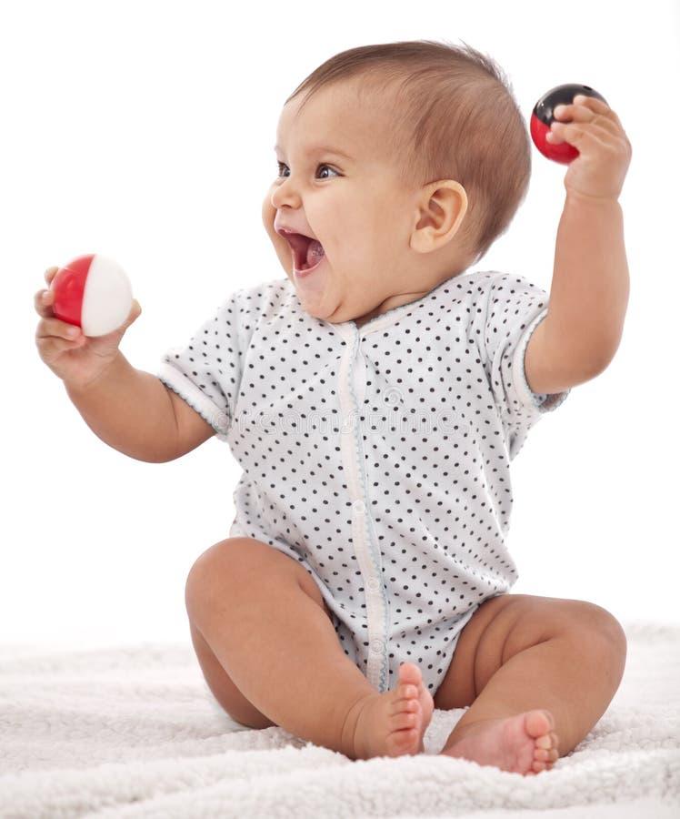 使用与球的女婴。 库存图片