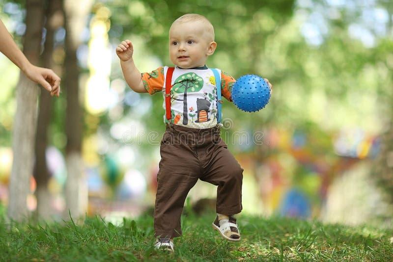 使用与球的孩子在公园 库存照片