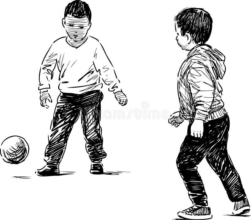 使用与球的小男孩 库存例证