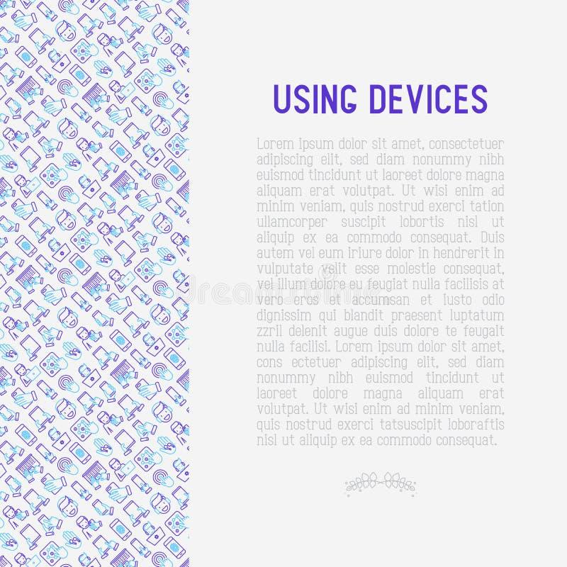 使用与稀薄的线象的设备概念 向量例证
