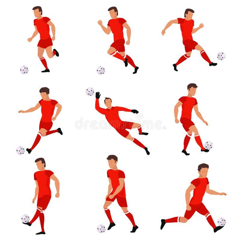 使用与足球的足球运动员 库存例证