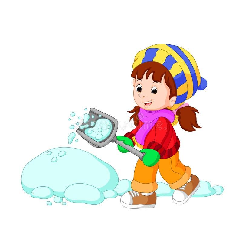 使用与雪的动画片孩子 皇族释放例证