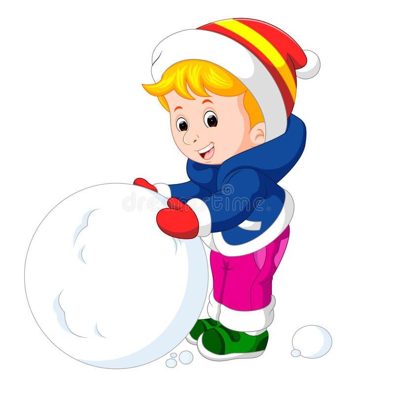 使用与雪的动画片孩子 向量例证